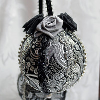 Black and Silver Brocade Victorian Style Holiday Ornaments