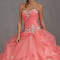 Organza Long Coral Quinceanera Dress Pageant Dress Prom Ball Gown Sweet 16 Dress