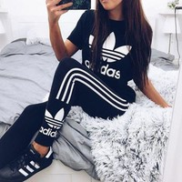 Womens Adidas Print Stretch Exercise Fitness Pants