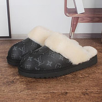 LV Louis Vuitton new printed letter bow snow boots Baotou slippers plush drag Boots Shoes