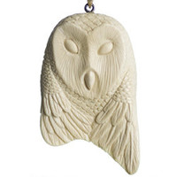 Owl, Eagle and Raven Triple Totem Pendant in Fossil Mammoth Ivory | Whisperingtree.net