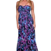 Beautifly Women's Strapless Unique Print Sweetheart Maxi Prom Ball Gown Evening Dress
