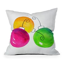 Laura Trevey Pink And Green Holiday Throw Pillow