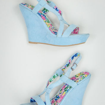 Faux Suede Wedges in Baby Blue