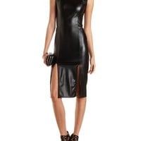 Faux Leather Midi Dress with Cut-Outs by Charlotte Russe