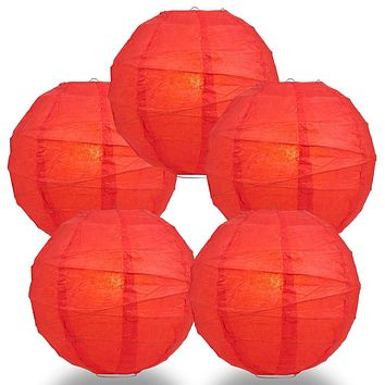 "BULK PACK (5) 14"" Red Round Paper Lantern, Crisscross Ribbing, Chinese Hanging Wedding & Party Decoration"