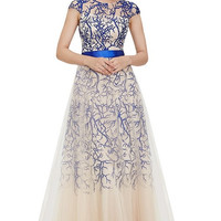 Belted Embroidered Lace Gown