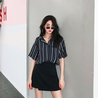 【Final Sale】Striped Short Sleeves Shirts