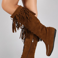 Suede Fringe Moccasin Lace Up Knee High Flat Boot