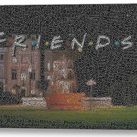 Friends TV Show Characters Word Mosaic neat Framed 9X11 Limited Edition Art wCOA
