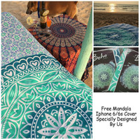 """Exclusive Branded Ombre Tapestry By """"The Boho Street"""", Indian Mandala Wall Art, Hippie Wall Hanging, Bohemian Bedspread"""