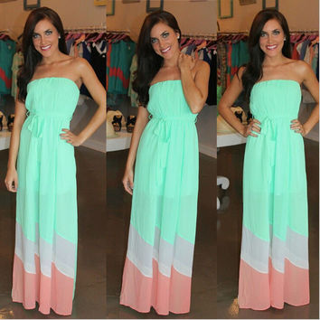 Strapless Backless Colorblock Striped Maxi Dress