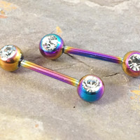 Titanium Rainbow Nipple Bar Jewelry Barbell with Crystal Ball Ends