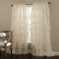 "Cream 63"" Long Gypsy Shabby Chic Ruffled Window Curtain Panel"