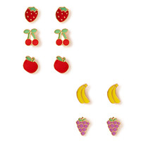 FOREVER 21 Fruit Salad Stud Set Red/Yellow One