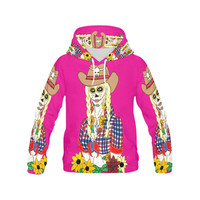 Cowgirl Sugar Skull Pink All Over Print Hoodie for Women (USA Size) (Model H13) | ID: D1494893