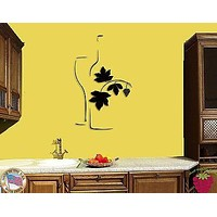 Wall Sticker Vine Bottle And Glass of Wine Cool Decor for Bar or Kitchen Unique Gift z1388