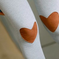 Lovely Heart Patches Leggings Grey