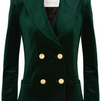 Pierre Balmain - Double-breasted cotton-blend velvet blazer