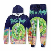 Novelty Men's Rick and Morty Print Hoodies (Sell By Separate) Loose Anime Pants Spring Autumn Sweatshirt and Pant Funny Clothing