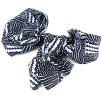 Black & White Geometric Cotton Scarf - Asha Handicrafts