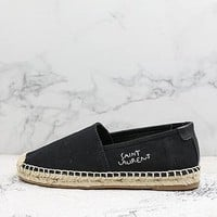 Saint Laurent Embroidered Espadrilles In Black Cotton