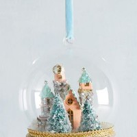 Enchanted Castle Globe Ornament by Anthropologie in Peach Size: One Size Holiday