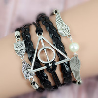 Black Leather Infinity Rudder Anchor Harry Potter Deathly Hallows Owl Angel Bracelet
