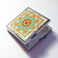 Square Pill case, Pill Case, Pill Box, Mosaic, abstract design, 4 Sections, Square Pill Box, Pill Container, Pill case for purse (4318)