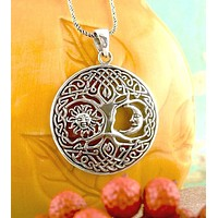 Celtic Tree of Life with Sun and Moon Pendant