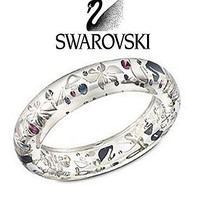 Swarovski Swanflower Thin Clear Blue Bangle Bracelet #1127500