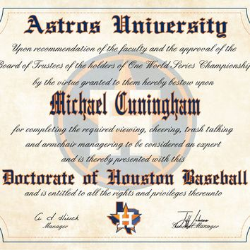 "Houston Astros Ultimate Baseball Fan Personalized Diploma - 8.5"" x 11"""