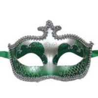 Green and Silver Venetian Masquerade Mask With Glittery Scrollwork