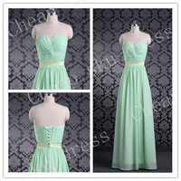 First-class New Style A-line Sweetheart Ruffle Sash Long Bridesmaid Dress Party Dress Evening Dress Prom Dress Formal Dress 2014