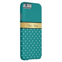 Gold Monogram On Teal Blue Green, White Polka Dots Barely There iPhone 6 Case