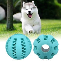 Pet Dog Chew Toy Funny Pet Puppy Dogs Cat Chew Toy Rubber Balls Pet Toys Ball Tooth Cleaning Balls Dog Toys Light Blue