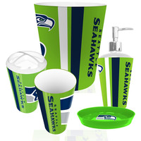 Seattle Seahawks NFL Complete Bathroom Accessories 5pc Set