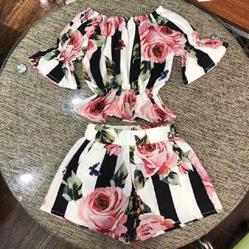 Fashion Toddler Kids Girls Stripe Floral Tunic Tops Shorts Outfits Set Clothes