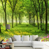 Custom Any Size Mural Wallpaper 3D Nature Scenery Green Tree Photo Wall Paper Living Room TV Sofa Background Wall Murals Decor