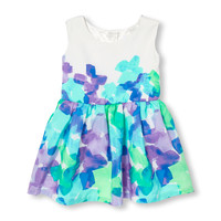Toddler Girls Sleeveless Watercolor Floral Print Flare Dress   The Children's Place
