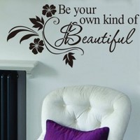 "Toprate(TM) Be Your Own Kind Of Beautiful Quote Vinyl Wall Art Decals Mural Wall Sticker Black 12.5""x25.5"""
