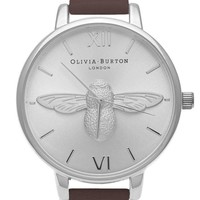 **Olivia Burton Moulded Bee OB15AM60 Brown & Silver Watch