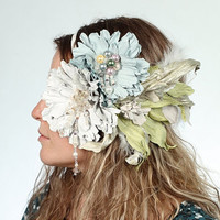 Fabulous Exclusive Ivory White Leather Blossom Headband by meudeus