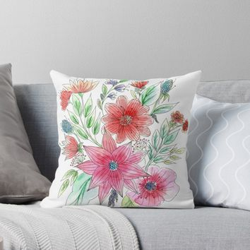 'Wild flowers' Throw Pillow by juliagrifol