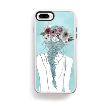 Flower crown girl illustration on blue for iPhone 7 Plus
