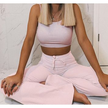 Explosion style women's ribbed cropped camisole long flared pants suit