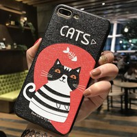 Black Cat Pattern Case for iPhone X 8 7 6S Plus &Gift Box