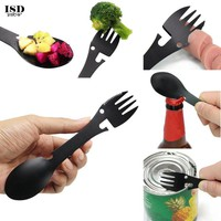 ISHOWTIENDA Multifunctional camping equipment Cookware Spoon Fork Bottle Opener Portable Tool  outdoor survival  survival #A30