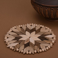Round handmade coster for hot dishes wooden decorative kitchenware decor present