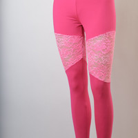 Matte Dry Fit Pink Leggings With Bright Pink Floral Lace Inserts, Women's Leggings, Yoga Leggings, Yoga Pants, EDM Clothing